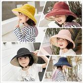 大沿檐帽兒童漁夫帽男童女童盆帽親子款遮陽防曬防風繩潮  水晶鞋坊