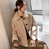 羊羔毛羊羔絨外套女皮毛一體皮草羊毛羔羊絨大衣【Kacey Devlin】