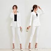 西裝套裝白色西裝套裝女秋季正韓氣質工裝小西服時尚休閒潮兩件套 Milano米蘭