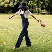 【年終】全館大促減齡高腰闊腿背帶牛仔褲女 顯瘦顯高時髦收腰氣質ins勾勾連體長褲