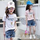 女童t恤短袖夏裝中大女童純棉上衣女兒童半袖體恤衫 CR水晶鞋坊