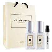 Jo Malone 藍風鈴+黑莓子(9mlX2)+牡丹與胭紅麂絨針管香水 -贈提袋