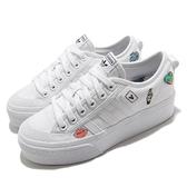 adidas 休閒鞋 Nizza Platform J 白 厚底 塗鴉插畫 女鞋 大童鞋 小白鞋【ACS】 FY2531