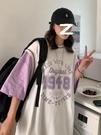籃球T恤女情侶原宿港風假兩件上衣潮ins網紅炸街韓版寬鬆短袖夏裝