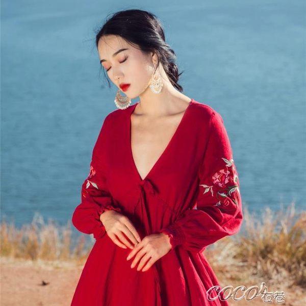 名族風洋裝 酒紅色繡花西藏新疆茶卡鹽湖民族風大擺領連身裙 coco衣巷