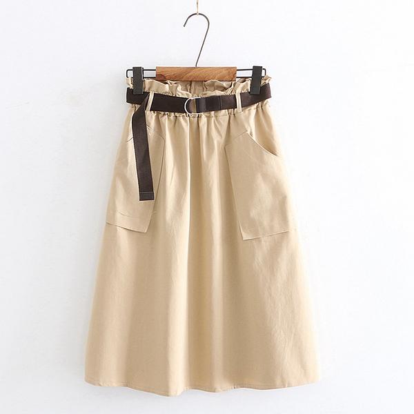 *ORead*休閒純色花苞高腰顯瘦中長款半身裙(5色F碼)