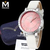 LEVIS 女錶 石英錶 真皮錶帶 大錶面羅馬數字設計 Levi's 女用手錶 經典盒裝/白皮帶粉錶面/38.5mm