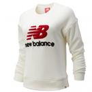 New Balance 女裝 長袖 休閒 棒球 刷毛 LOGO 米白 紅【運動世界】AWT93548SST