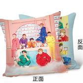 現貨 👍防彈少年團 雙面圖案抱枕 靠墊 枕頭-粉(40x40公分) E705-K【玩之內】BTS 韓國 粉絲見面會
