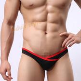 男內褲 超低腰高叉露毛性感三角褲(黑色)L號《隱密保密》