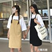 春裝女裝2019新款韓版減齡學生寬鬆背帶裙牛仔吊帶連身裙短裙『艾麗花園』