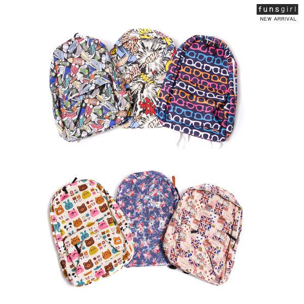 後背包-休閒滿版圖字母眼鏡動物碎花後背包(可放A4)-6色~funsgirl芳子時尚