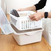瀝水籃 裝碗筷收納箱碗柜帶蓋置放碗籃子廚房儲物箱收納盒小號家用瀝水籃jj小c推薦