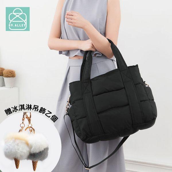 空氣包 側背包 斜背包 兩用素面大容量三層媽媽包 女包 89.Alley-HB89219 黑色