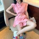 牛仔洋裝 短袖洋裝2021年夏季新款連體褲牛仔短褲女裝網紅工裝闊腿連身裙子春赫本風 寶貝計畫