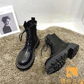 馬丁靴女英倫風單靴夏季薄款瘦瘦厚底短靴【慢客生活】
