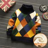 毛衣-男童高領毛衣加絨兒童針織衫男寶寶一體絨保暖打底衫秋冬新款 依夏嚴選