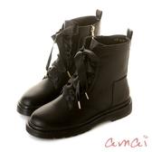 amai《半糖主義》甜美中性緞帶拉鍊軍靴 黑