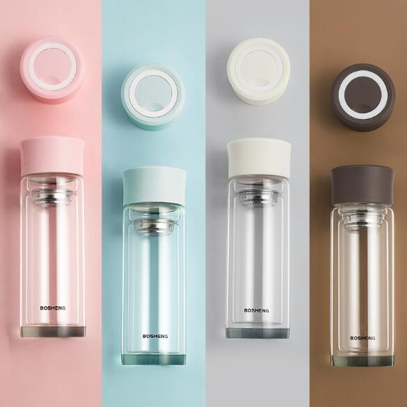 双层家用隔热保温玻璃杯学生水杯ins便携茶水分离杯透明杯子
