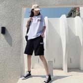 短褲 新款bf風黑色工裝短褲女夏寬鬆直筒高腰港味中褲ins潮五分褲