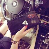 皮夾潮流時尚錢夾韓版新款皮質錢夾中長款錢夾個性鉚釘錢夾手機包潮