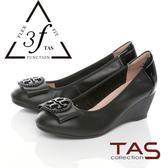 TAS彈力乳膠蝴蝶結飾釦楔型娃娃鞋-時尚黑