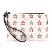 COACH 星星印花PVC皮革L型拉鍊手拿包(粉白色)198360-4