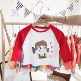 女童洋氣t恤2019秋裝新款兒童長袖打底衣女寶寶春秋上衣童裝秋款-ifashion
