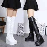 膝上靴秋冬新款過膝長靴內增高跟坡跟厚底高筒靴防水台女靴子白色長筒靴 美芭