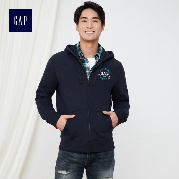 Gap男裝 Logo字母圖案印花拉鏈連帽長袖休閒外套 421890-海軍藍