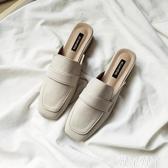 穆勒鞋 夏季粗跟包頭拖鞋女淺口時尚外穿網紅穆勒鞋復古英倫風方頭半拖 愛丫愛丫
