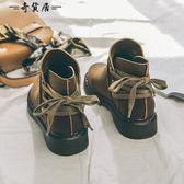 2018秋冬季平底系帶短筒靴子女英倫風短靴低跟加絨復古chic馬丁靴
