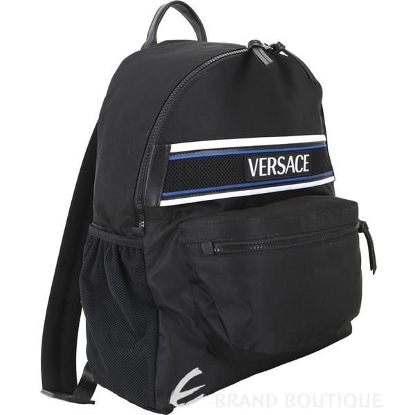VERSACE Logo 徽標網布拼接尼龍後背包(黑色) 1940273-01
