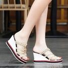 2021夏季新款真皮羅馬風拖鞋女防滑厚底高跟坡跟女涼拖鞋「時尚彩紅屋」