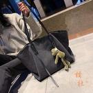 大容量包包女韓版時尚帆布包側背包簡約托特包【橘社小鎮】