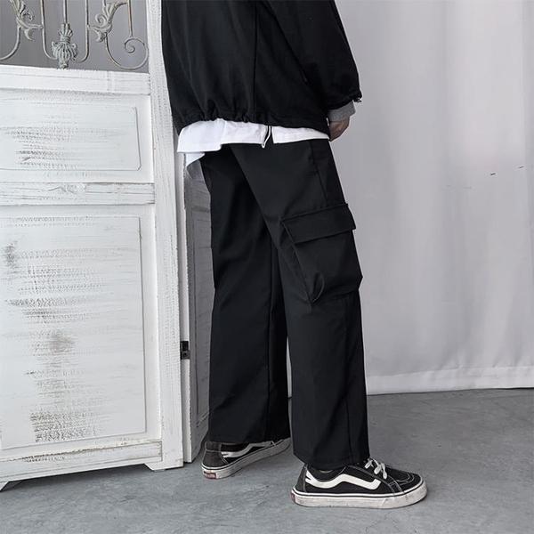 ins夏季薄款原宿風工裝口袋直筒九分褲寬鬆休閒鬆緊系繩寬管褲男 陽光好物