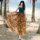 波西米亞洋裝 沙灘裙女新款吊帶印花長裙冷...