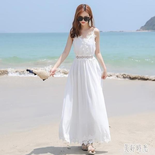 沙灘吊帶裙女2020新款波西米亞海邊度假雪紡洋裝性感細肩帶連身裙露背裙 DR34118【美好時光】