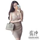 EASON SHOP(GW0802)韓版單排釦裹胸露肩露背無袖細肩帶針織連身裙洋裝女上衣服貼身包臀裙短裙灰色