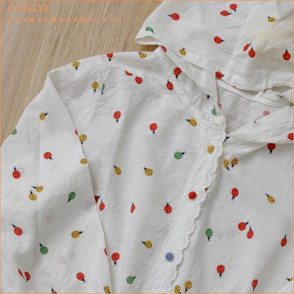 棉麻衫 瓢蟲印花蕾絲邊棉麻外套 單色-小C館日系