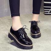 森雅誠品 漆皮鬆糕鞋女春季粗跟單鞋增高鞋子厚底鞋小皮鞋英倫女鞋