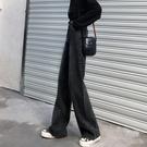 牛仔直筒褲 闊腿黑色牛仔褲女秋冬季加絨新款寬鬆休閒拖地顯瘦高腰垂感直筒褲 歐歐