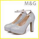 MG 金色高跟鞋婚鞋新娘鞋銀白色高跟鞋粗跟伴娘鞋結婚鞋婚紗禮服宴會演出鞋金色