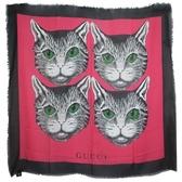 【南紡購物中心】GUCCI 纖維混絲貓咪圖案拼接流蘇披巾/方巾(紅X黑)
