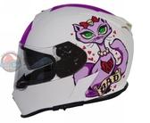 [安信騎士] TORC T14  彩繪 BAD KITTY 消光白 雙鏡片 全罩 安全帽