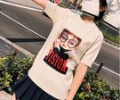 春夏圓領眼鏡印花寬鬆版針織T恤潮 學院T(四色可選)