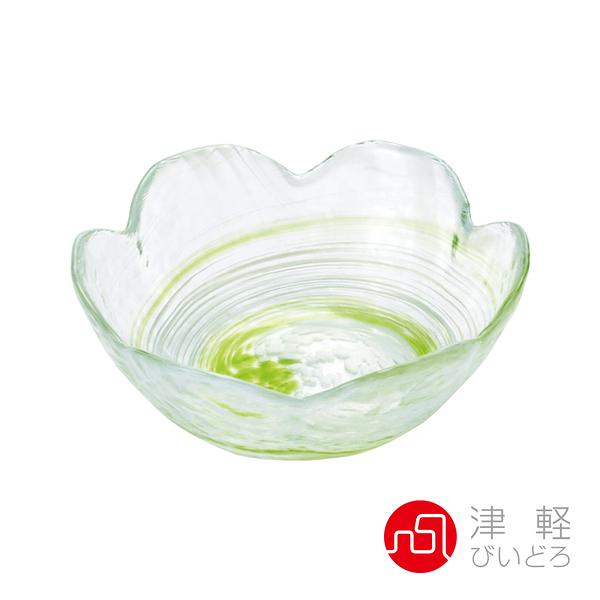 日本津輕 手作漩渦玻璃缽-綠色