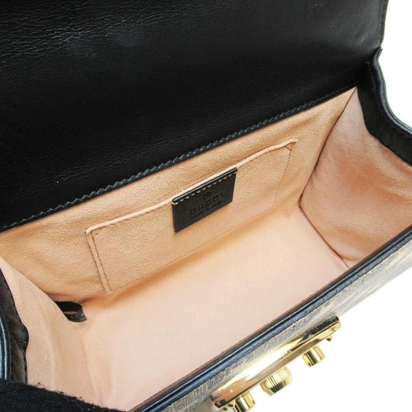 GUCCI 古馳 棕色PVC材質金色蜜蜂造型肩背斜背包 Padlock GG Bees 409487【BRAND OFF】