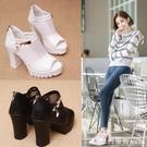 魚口鞋 魚嘴鞋2021新款鏤空羅馬女鞋子單鞋網紗涼鞋女夏季高跟鞋粗跟中跟 開春特惠