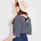 Poly Lulu 大V領美背後綁帶條紋上衣-深藍【91080260】
